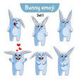 set of cute rabbit characters set 1 vector image