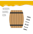 wooden barrel icon with honey drops vector image