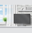 Work table with computer on white brick background vector image