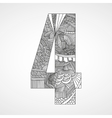 Number 4 with hand drawn abstract doodle pattern vector image