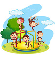 Five monkeys playing on roundabout vector image