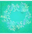 Antique turquoise floral frame on grungy parchment vector image