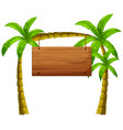 wooden sign on coconut trees vector image vector image