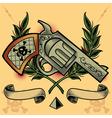 Gun Wreath Ribbons and Pyramid vector image