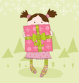 girl with present chrismas card vector image vector image