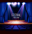 a theater stage with a blue curtain and a vector image