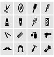 black barber icon set vector image