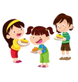 children have cake vector image