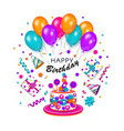 Colorful happy birthday greeting card banner vector image