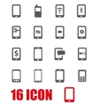grey mobile icon set vector image