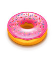 pink donut isolated on white vector image