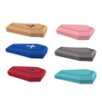 Set colored coffins of accessories for buri vector image