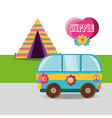 van with flower hippie concept vector image