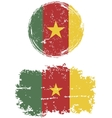 Cameroon round and square grunge flags vector image