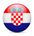 Round glossy icon of croatia vector image