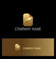 arrow right paper gold logo vector image