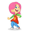 cartoon cute girl dancing vector image