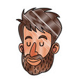 drawing face man beard close eyes vector image