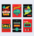 red and black funky black friday sale cards set vector image