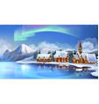 Winter landscape Christmas cottages Festive vector image vector image