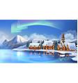 Winter landscape Christmas cottages Festive vector image