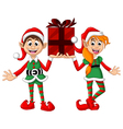 two Christmas elf holding a gift vector image vector image