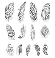 Set of Ornamental Boho Style Feather vector image vector image