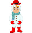 cute boy cartoon with snowman costume vector image
