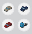 isometric automobile set of car auto suv and vector image