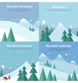 Mountains Landscape Banners Set Mountaineering vector image