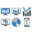 Chart Monitoring Flat Icons vector image