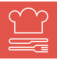 Chef hat fork and knife vector image vector image