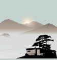 mountain view with a human settlement vector image vector image