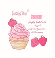 hand drawn cupcake strawberry flavor vector image