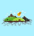 Abstract flat design landscape island with roots vector image