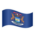 flag of michigan waving on white background vector image