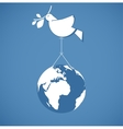 i like peace peace dove holding a globe vector image
