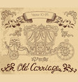 line art with vintage carriage vector image