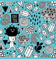 seamless pattern with strange creatures in doodle vector image