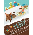 Funny dog pulling sledge with children vector image
