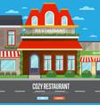 facade of restaurant in flat design vector image