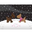 snow puppy love vector image vector image