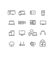 Computers and devices line icons set vector image