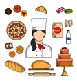Baker with bread and pastries colored sketch icon vector image