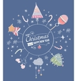 Card with hand drawn watercolor christmas doodle vector image