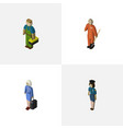 isometric people set of cleaner plumber vector image