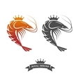 Royal shrimp sign vector image