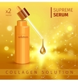 Gold realistic cosmetic tube poster with collagen vector image