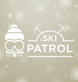 logotype ski patrol on gray snow background vector image vector image