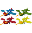 Airplane in four different colors vector image